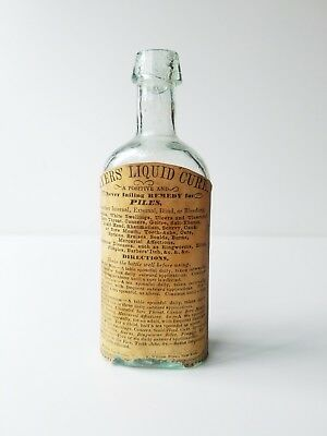 Amazing 1840s Labeled Myers Liquid Cure NY Open Pontil Medicine Bottle