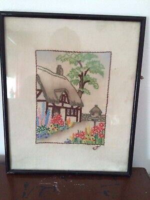 Vintage 1930s Hand Embroidered Cottage Picture