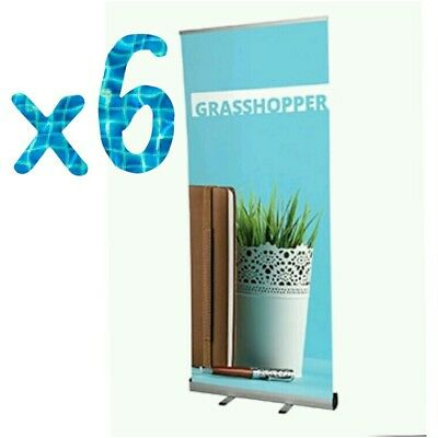 ^  Box of 6 x 850mm Grasshopper Roller Banner Stands Pull Up New + Case  1;27