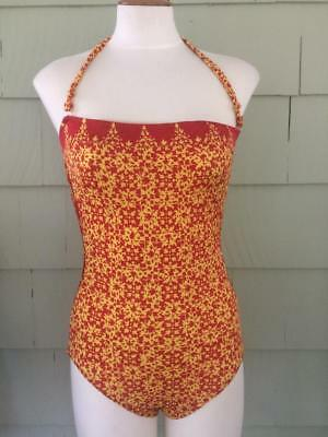 Vtg 70s Christian Dior orange red abstract swim suit - 8/30- small -bust 34-36