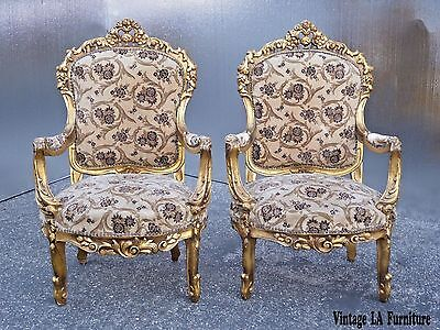 Pair Vintage French Rococo Louis XVI Ornately Carved Gold Velvet Accent CHAIRS