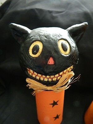 Midwest of Cannon Falls Vintage Halloween Paper Mache Black Cat Candy Container