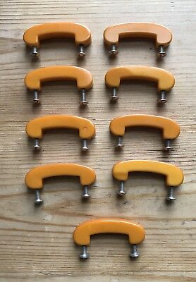 Vintage Lot of Nine Mid-Century Butterscotch Bakelite (Tested) Draw Pulls