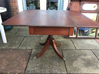 Antique English Regency Period 19th C Mahogany Drawer Leaf Dining Library Table