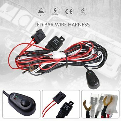 LED HID Work Driving Light Bar Wiring Kit Harness Loom Switch Relay 12V 40A MN