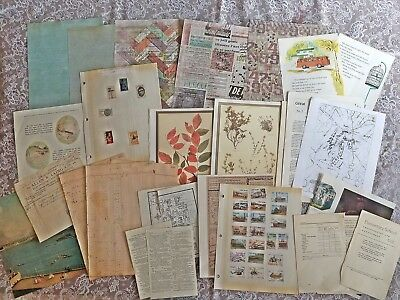 Lot of Vintage and Antique Ephemera, Postage Stamps, Junk Journal