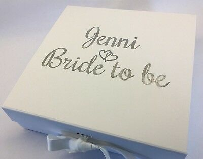 Large Personalised Bride To Be White Gift / Keepsake Box Ideal For Wedding Day