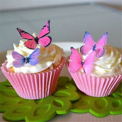 Wedding Cake Decoration Butterfly Wafer Edible Rice Paper Cupcake Toppers