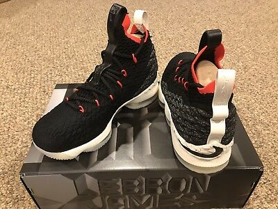 24cd2f8db22c BRAND NEW Nike Lebron XV 15 Black Red White GS Basketball Shoes Boys Size  7Y GS