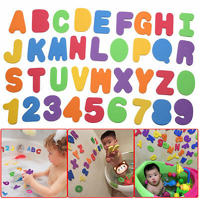 36 Pcs Foam Bath Numbers And Letters Tile Child Baby Kids Bath Toy Water Fun Uk