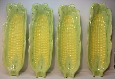 4 Ceramic Corn dishes Signed Helen '76