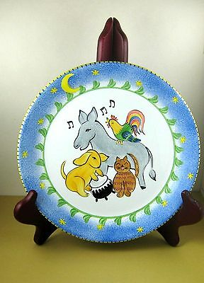 """pRESENT tENSE Anne Hathaway Childs 8"""" DINNER PLATE Animals Music Hand Painted"""