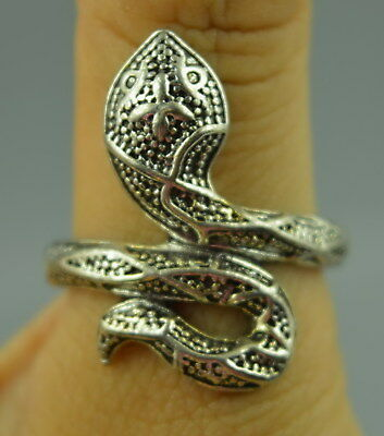 Decorate Collectible Tibet Silver Carve Vivid Snake Shape Amulet Rare Ring Gift