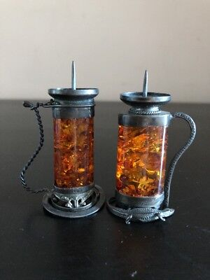 Sterling Silver Amber Candle  Holders
