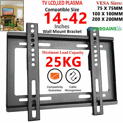 TV Wall Bracket Mount Slim Fixed For 32 40 45 50 55 60 65 70 Inch LCD LED Plasma
