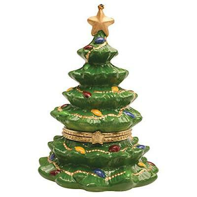 "ReLIVE 4"" Ceramic Christmas Tree Hinged Treasure Box Ornament"