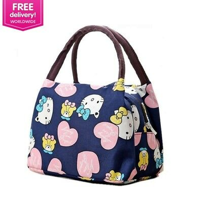 93cb6b235cd7 Girl Cartoon Hello Kitty Lunch Bag Portable Insulated Cooler Bags Thermal  Food