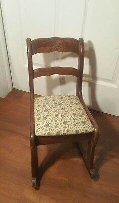 Antique Tell City Rocking Chair Mahogany Doll's/ Children's Rocking Chair