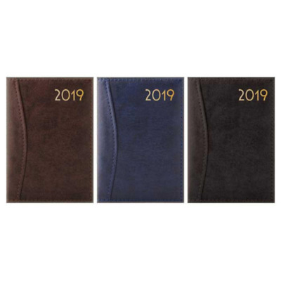 2019 A4/A5/A7 Slim Week To View Day View Deluxe Leather embossed stitched Diary