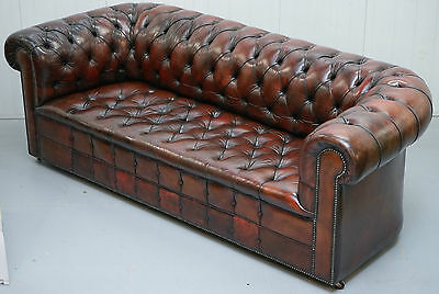 Rare 1940's Hand Dyed Restored Aged Leather Three Seater Chesterfield Club Sofa