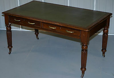 Stunning Victorian Walnut Gillows Writing Table Partner Desk Reeded Legs Leather