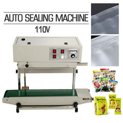 W/ Frame Continuous Automatic Sealing Machine Band Sealer Plastic Bag Film 110V
