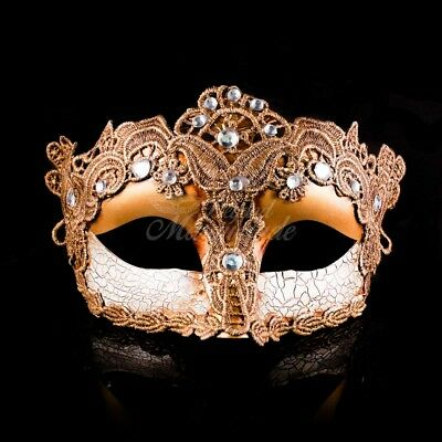Costume Lace Mardi Gras Masquerade Mask Embellished with Gems for Women - Gold