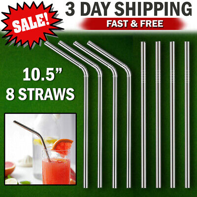 Stainless Steel Drinking Straws LONG Reusable Metal for 30 oz Yeti Rtic Tumblers