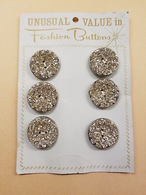 Original Card Of 6 Vintage Rhinestone And Metal Buttons~Silver Tone~Lrg