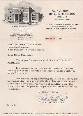 American Humane Education Society 1958 Letter - Lester Giles - OUR DUMB ANIMALS