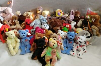 Ty Beanie Babies - Lot of 48 with 9 Plastic Cases- RARE