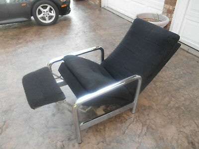 Vintage Milo Baughman for Thayer Coggin Chrome Lounge Recliner Mid-Century