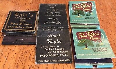 Vtg Matchbook Covers. (4) Paso Robles, California