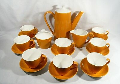 Vintage Coffee Pot Set 19 pc JOHNSON BROS Yellow 4 CUPS & SAUCERS CREAM & SUGAR