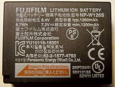 Fuji camera battery NP-W126S. New & Genuine Original + Fujifilm charger.