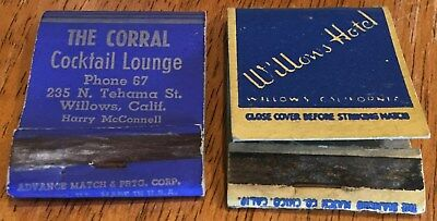 Vtg Matchbook Covers. Lot Of (2) Willows, California.