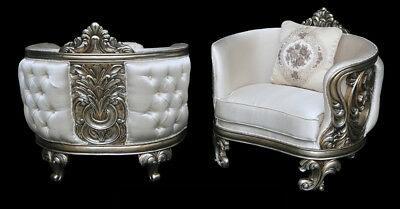 Pair French Louis XV Style Rococo Carved Accent Arm Silver Chairs