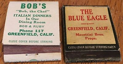 Vtg Matchbook Covers. Lot Of (2) Greenfield, California