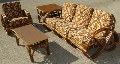 6 Piece CALIF-ASIA Mid Century Rattan Sectional Chair Tables Porch Set