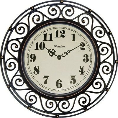 Wrought Iron Look Decor Wall Clock Large Bronze Bronze Office Living Room Den