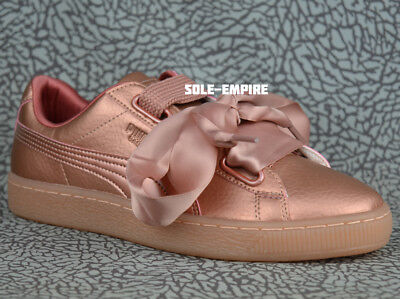 new product f08aa 4a33a PUMA BASKET HEART DE Women's 365463-01 Copper Rose Pink Classic Bow