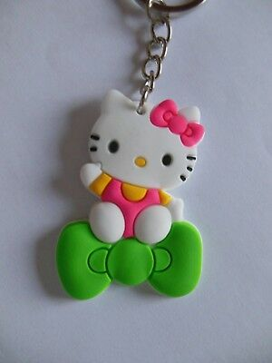 Hello  Kitty ** Keychain ***{ soft silicone / Green & Pink } ** Free  Shipping