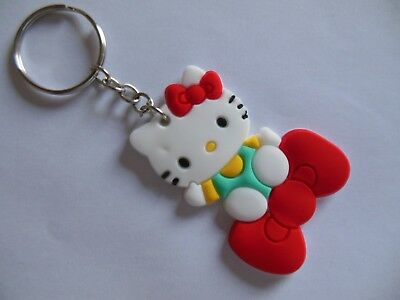 Hello  Kitty ** Keychain ***{ soft silicone / Blue  &  Red  } ** Free  Shipping