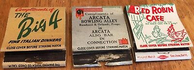 Vtg Matchbook Covers. 3 Diff. Arcata, California  Bowling & Diners