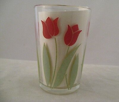 "Vintage Swanky Swig small juice glass red tulips 3.25"" high VGC"