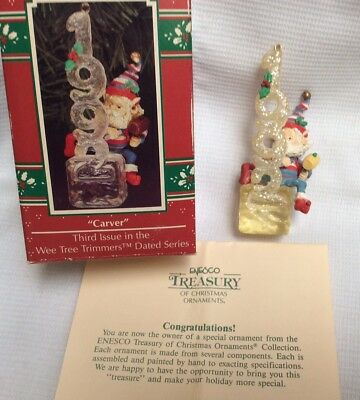 Enesco 1992 Wee Tree Trimmers Ornament Carver 3rd in Series
