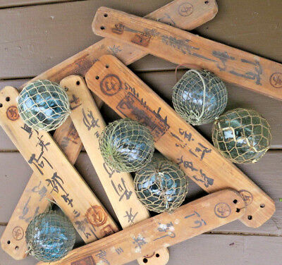 "Japanese Floats (7) WOODEN Markers Kanji + (6) 3"" Glass Fishing Balls Antique"