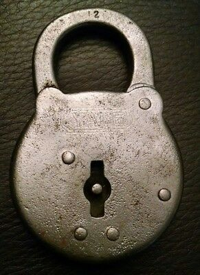 Vintage Antique Yale Padlock 6 Lever Steel Yale & Towne Made In Usa No Key