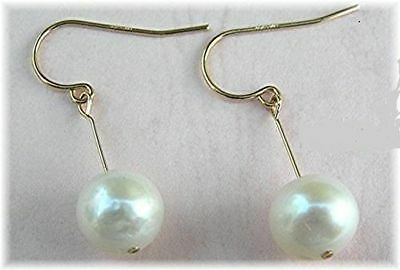 White Akoya Pearls 18K Solid Yellow Gold Earring PRETTY 7.2mm Perfect Round AAA