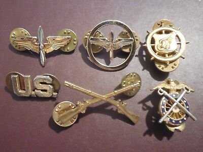 WWII Aviation Infantry Branch Badge Collar Brass Pin US Army AAC Military Lot
